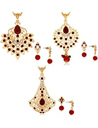 Combo Of 3 Filligeri Designer Pendant Set Studded With Color StoneCOMBO_395