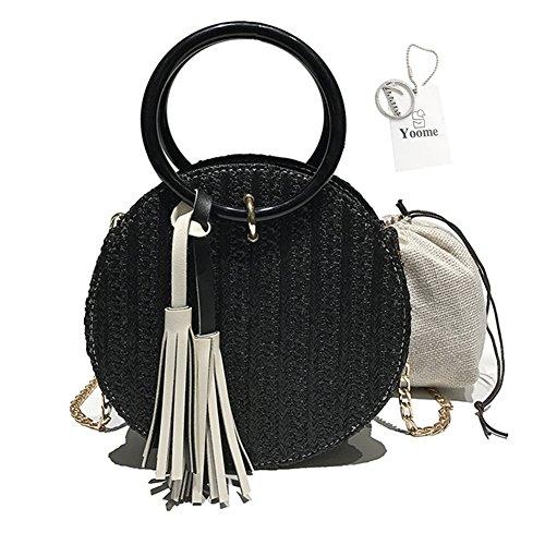 Yoome Stroh Handtaschen Frauen Strand Umhängetasche Sommer Top Handle Crossbody Runde Geldbörse Damen Woven Fashion Crochet Satchel mit Metall-Kette Strap -