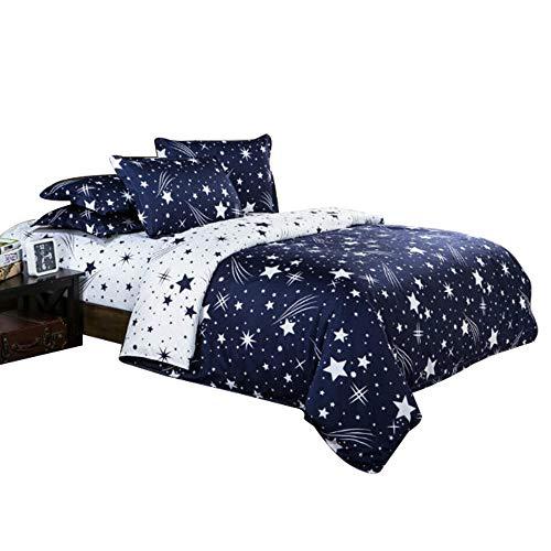 ZHH Star Bettbezug Set, Galaxy Druck Bettwäsche-Set Platz Thema Kids Luxus Bettwäsche-Set, Weiche Bettwäsche, 1 Bettbezug & 2 Kissenbezüge, Polyester, Stern, Doppel-Größe (Luxus Bettwäsche-set Sterne)