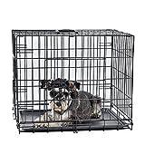 HU Zusammenklappbarer Käfig Pet klappbar Hundebox Flügeltürschrank in 2Seiten mit ABS-Bodenwanne, Einfach installieren, mit 4Größen W ~ W
