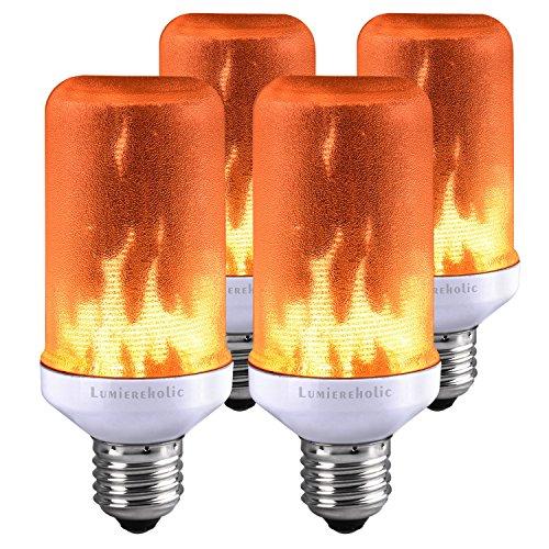 Lumiereholic Flamme E27 Lampe Flackernde Licht Effekt Feuer Glühbirne Wandleuchte Außenleuchte Flackerlicht für Haus Garten Bar Party Hochzeit Restaurant Valentinstag Deko (4 Stücke)