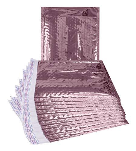 Luftpolsterversandtaschen, Roségold, 6,5 x 9 cm, 25 Stück Gepolsterte Briefumschläge, 6,5 x 9 cm, Hellrosa Versandtaschen selbstklebend Versand Verpackung Bulk verpackt. Laminiert und verspiegelt