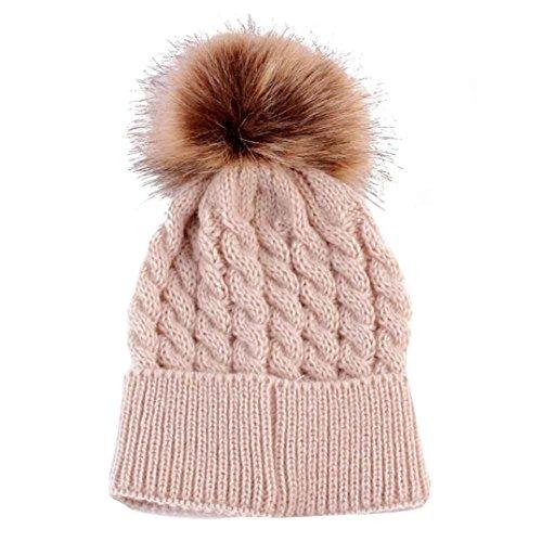 Kingko® 0-3 Jahre Neugeborene Baby Niedliche Wintermütze Strickwolle Hemming Hut mit Pelzball (Beige)