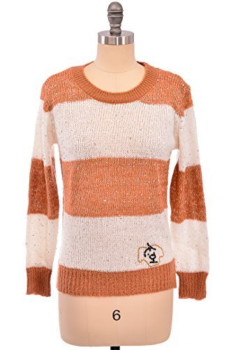 metallisch Glanz gestreift Damen Pullover Top in Größe S M L und Farbe schwarz/weiß braun/weiß - braun/weiß, Medium (Trim Lange Gerippte Ärmel,)