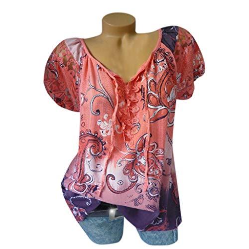IZZB Damen Bluse Tanktops Weste Damen Oberteil Sommer Hemd Plus Size Tank V-Ausschnitt Stickerei Aushöhlen Spitze Tops (Orange, S)