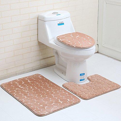 3/2Memory Foam Badematte, rutschfeste Rückseite WC-Samt Badezimmer Teppich Set für WC Badezimmer, helles kaffebraun, 3pcs set