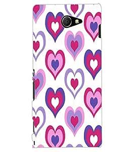 ColourCraft Love Hearts Design Back Case Cover for SONY XPERIA M2