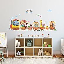 Decowall DA-1406A Trenes de Animales Vinilo Pegatinas Decorativas Adhesiva Pared Dormitorio Salón Guardería Habitación Infantiles Niños Bebés
