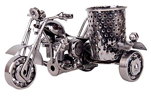 op-Zubehör Motorrad-Metall Stifthalter Kunsthandwerk Desktop Versorgung Veranstalter, schwarz (Spaß Halloween-handwerk Zu Hause)