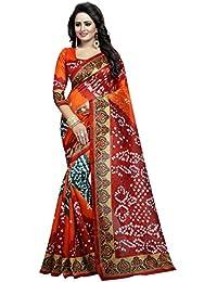 Orange Bhagalpuri Woven Saree With Blouse