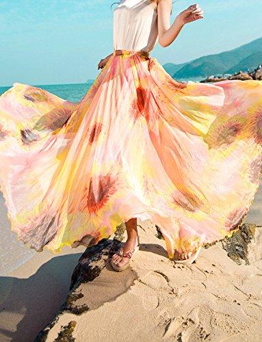Lunga gonna in chiffon floreale a vita alta Beach Una linea Maxi delle donne Sun flower