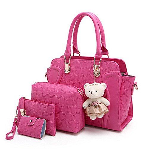 fanhappygo Fashion Retro Leder Damen Drucken Schulterbeutel Umhängetaschen Abendtaschen a set pink
