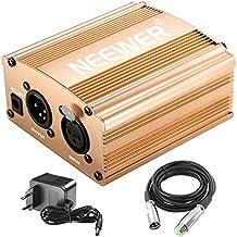 Neewer 1-Canal Phantom 48V Alimentación Suplimiento Negro con Adaptador y Cable de Audio XLR para Caulquier Micrófono Condensador Músico Equipo de Grabación (Dorado)