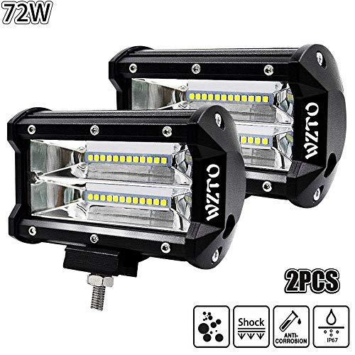 WZTO LED Arbeitsscheinwerfer 5 Inch 72W Cree LED Zusatzscheinwerfer 10800LM Auto Scheinwerfer Offroad Flutlicht Spotlight 6000K Wasserdicht IP67 Arbeitslicht 12V (2 Stück)