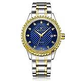 Uhr Mens Diamond Dial wasserdicht mechanische Business modische Uhr für Geschenke Sonnenbrille MDYHJDHHX (Color : Blau, Size : Kostenlos)