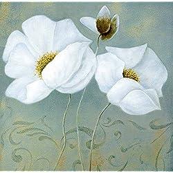 Cuadro sobre Lienzo – Flores Blancas I Pinturas Cuadros Con Flores Abstracta Pared Impresións – 40X40 cm