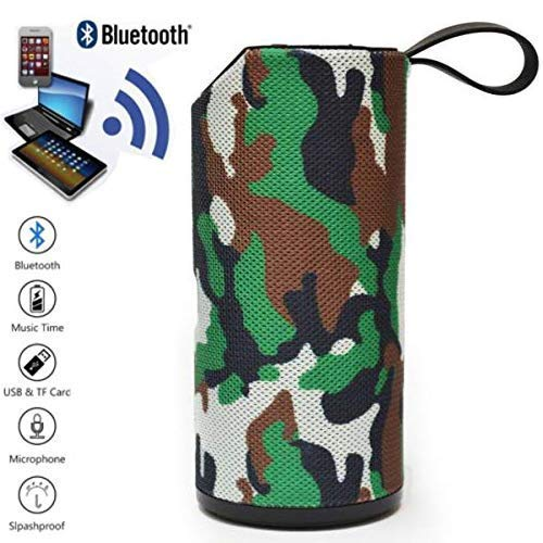 T3S® TG113 Bass Splashproof/Waterproof Wireless Bluetooth Speaker Playing with Mobile/Tablet/Laptop/AUX/Memory Card/Pen Drive (Army)