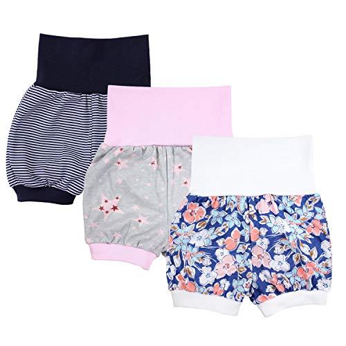 TupTam Baby Mädchen Kurze Pumphose 3er Pack, Farbe: Farbenmix 1, Größe: 80/86