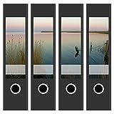 4 Akten-Ordner Etiketten / Aufkleber / Rücken Sticker / mit Design Foto Abendstimmung am Fjord / für breite Ordner / selbstklebend / 6 cm breit