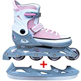 Cox Swain Sneak Kinder Inline Skates & Kinder Schlittschuh 2 in 1 - größenverstellbar ABEC5, Colour: light pink, Size: S (33-36)