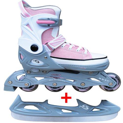Cox Swain Sneak Kinder Inline Skates & Kinder Schlittschuh 2 in 1 - größenverstellbar ABEC5, Colour: light pink, Size: L (40-43)