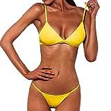 Internet Damen Sexy Split Badeanzug Swimwear Bikini Push Up Bandeau Neckholder Strand Fluoreszenz Bademode Swimsuit Bandage Tankini Beachwer Shorts Oberteil Tops und Bottoms Set (Gelb, S)