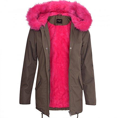 Damen-frauen Übergroße Kapuze Weich Bunt Rosa Blau Wein Pelz Parka Lange Jacke Mantel Khaki Green - Pink Fur