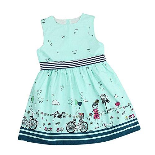 JERFER Kleinkind Baby Mädchen Langarm Dot Gürtel Blumen Party Kleid Outfits Kleidung Dunkelblau 3Y-7Y Party Kleid Outfit