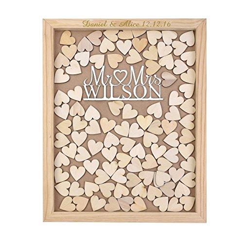 Tiffany Vincent Hochzeitsgästebuch-Rahmen aus Holz mit Tropfenform, personalisierbar, mit personalisierbarer Gravur Mr & Mrs, 35 x 30 cm, mit 120 Holzherzen, Holz, Silber, 40 x 50 cm