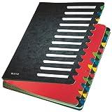 Leitz Pultordner, A4, 24 Fächer, Farbige Trennblätter, 3 Sichtlöcher, Karton, Schwarz