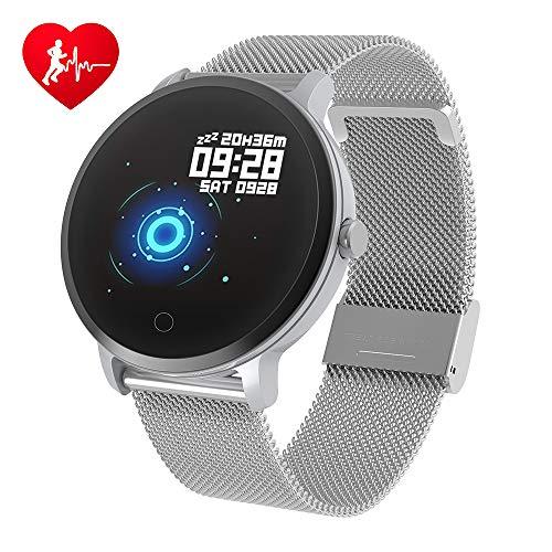 BingoFit Fitness Armbanduhr Wasserdicht Smart Watch Fitness trackers Sport Uhr mit Schrittzähler, Pulsmesser, Kamerasteuerung, Musiksteuerung, Schlaf-Monitor, Call SMS Android iPhone Handy (Silber)
