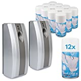 Complete Set - 2 Automatic Air Fresheners & 12 Fresh Linen Aerosol Refill Cans - Commercial Toilet (Grey)