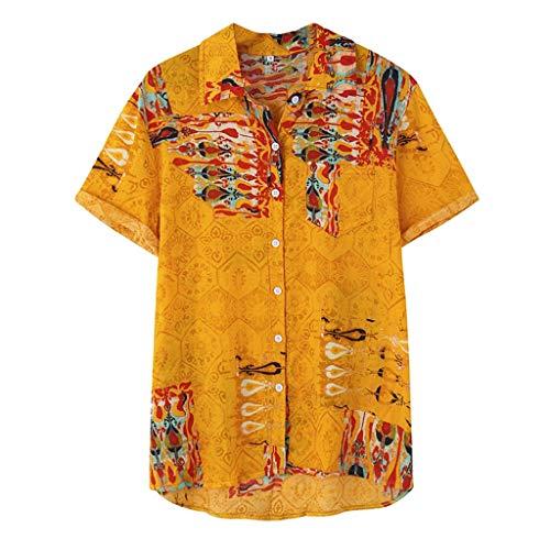 Luckycat Herren Kurzarm Männer Freizeithemd Henley Shirt Sommer Casual Hemden Leichte Herren Hawaiihemd Gedruckt Muster Kurzarm Aloha Freizeit Hemd Button Down Kurzarm Herren-Hemd Slim-Fit Hemden