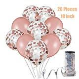 45cm Rose Gold Ballon Deko-Set | 20 Beutel Rose Gold Konfetti Metallic Party Luftballons, geeignet für Hochzeiten, Geburtstage, Brautgeschenke, Baby-Duschen, Party Dekoration, Valentinstag
