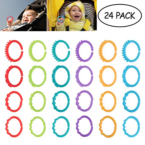 TOYMYTOY 24pcs Baby Teether Rings Links Toys Links Rattle Strollers Car Seat Travel Toys for Baby Infant Newborn 51YSY79CSkL