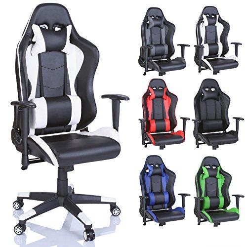 TRESKO Racing Drehstuhl Bürostuhl Sportsitz Chefsessel Gaming Stuhl 6 Farbvarianten, Wippmechanik, stufenlos verstellbare Rückenlehne (Weiß) -