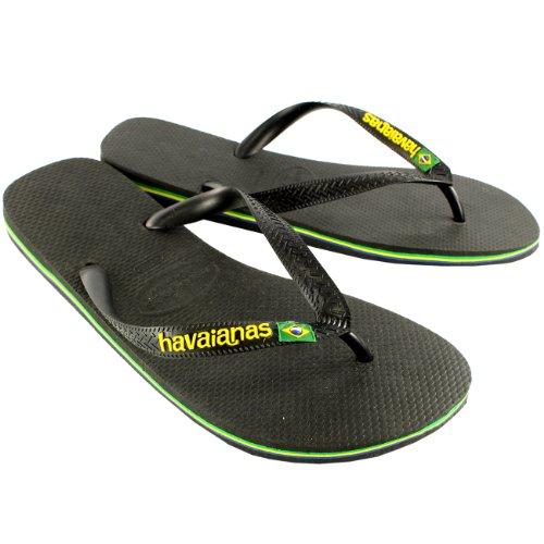 Herren Havaianas Brasil Logo Sommer Flip-Flops Sandale Schlüpfen-Auf Wohnungen - Schwarz - 39/40