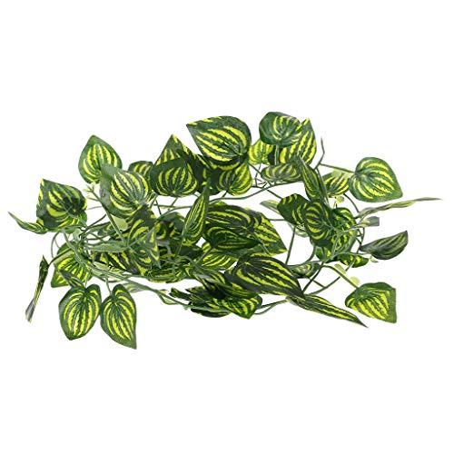 Lazder Künstliche Wassermelonenrebe, Reptilienechsen, Terrarium, Kletterdekoration, künstliche Pflanzen (Terrarium Reben)