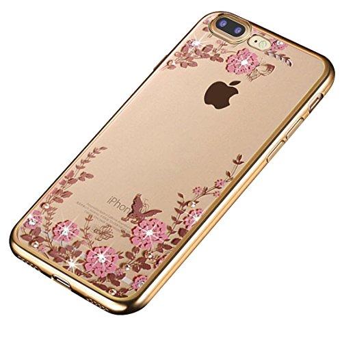 Minto Diamant TPU Blumen Hülle iPhone 6 6s Transparent Silikon Schutzhülle Handyhülle Case Cover Etui Tasche - Rosegold mit Pink Blumen Gold mit Pink Blumen -i7 plus