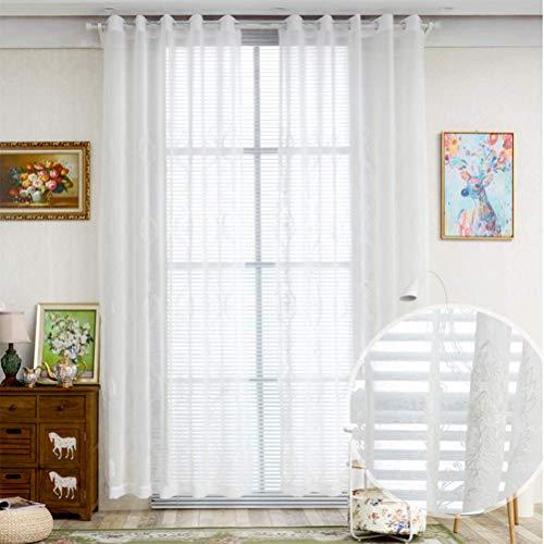 Blanc Tulle Pour Rideaux Voilage À Œillets Brodé Rideaux Voilage Lavable Couche Unique (100 * 280Cm),White,250 * 280