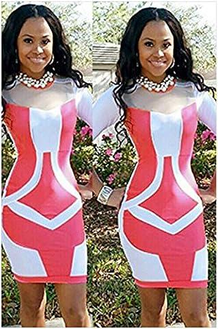 WJS-Vêtements pour dames robe, l'europe et l'amérique, autour du cou, sept points, manche bandage, patchwork, robe sur,Rose,M