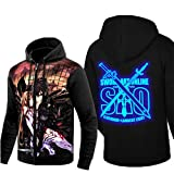 Cosstars Sword Art Online Sao Anime Sudaderas con Capucha Hoodie Sweatshirt Adulto Cosplay Luminoso Zip Jacket 4 XL