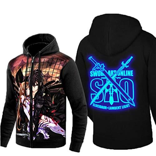 Cosstars Sword Art Online Sao Anime Sudaderas con Capucha Hoodie Sweatshirt Adulto Cosplay Luminoso Zip Jacket 4 M