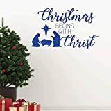 zqyjhkou Nativité De Noël Sticker Mural Vinyle Home Decor Salon Salle De Noël Commence avec Le Christ Citations Stickers Fenêtre Peintures Murales75x77 cm