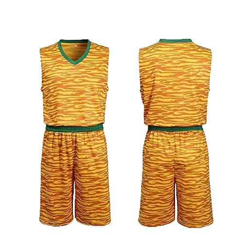 NNLX Basketball Bekleidung Anzug #Kinder Basketball Kleidung Anzug Männer und Frauen Grundschule Studenten Atmungsaktiv zweiteilig Trainingsanzug Teamuniform Mehrfarbig XXS-S Gr. S, gelb -