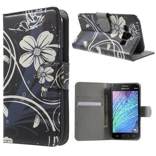 jbTec® Flip Case Handy-Hülle zu Samsung Galaxy J1 / SM-J100 - BOOK MOTIV - Handy-Tasche, Schutz-Hülle, Cover, Handyhülle, Ständer, Bookstyle, Booklet, Motiv / Muster:Weiße Blumen B04
