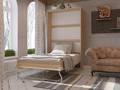 Schrankbett 120cm Vertikal Eiche Sonoma SMARTBett Tonnentaschenmatratze 120x200 cm, ideal als Gästebett - Wandbett, Schrank mit integriertem Klappbett, SMARTBett