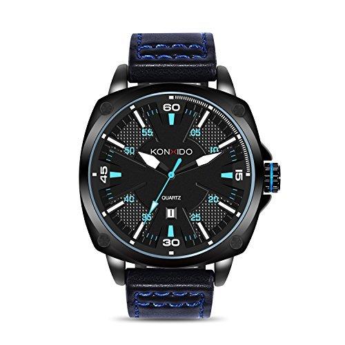 KONXIDO Herren Armbanduhr, Armbanduhr Casual analoge Uhren wasserdicht Datumsanzeige mit bequemen echtem Lederband, beste Wahl für Männer