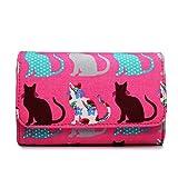 Miss Lulu Canvas Cat Dog Clutch Wallet Organiser Purse (Cat Pink)