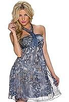 5793 Fashion4Young Damen Tailliertes Minikleid aus Chiffon Sommerkleid Kleid Chiffonkleid 2 Gr.